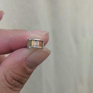 Brooks Brothers hoop earrings - silver/rainbow
